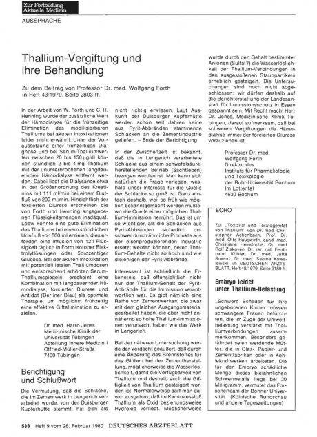 Thallium-Vergiftung und ihre Behandlung