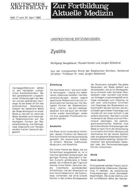 Unspezifische Entzündungen: Zystitis