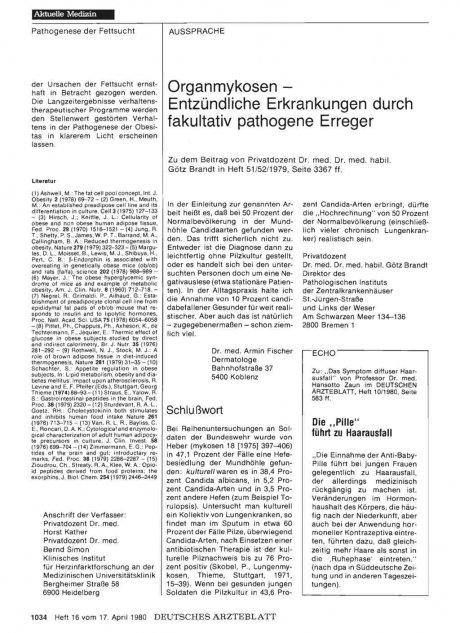Organmykosen — Entzündliche Erkrankungen durch...