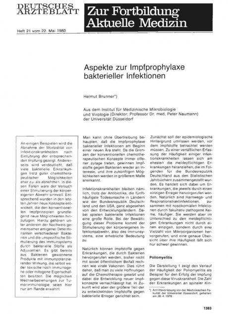 Aspekte zur Impfprophylaxe bakterieller...