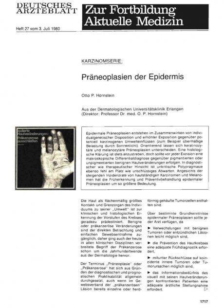 Präneoplasien der Epidermis