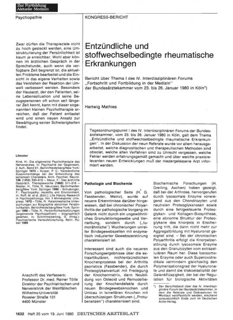Entzündliche und stoffwechselbedingte rheumatische...