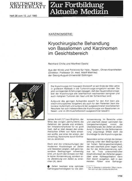 Kryochirurgische Behandlung von Basaliomen und...