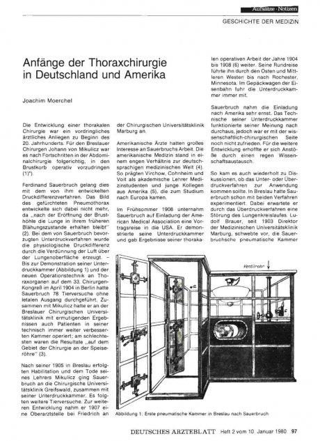 Anfänge der Thoraxchirurgie in Deutschland und...