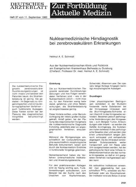 Nuklearmedizinische Hirndiagnostik bei...