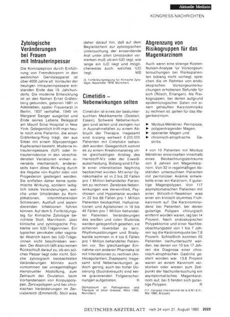 Abgrenzung von Risikogruppen für das Magenkarzinom