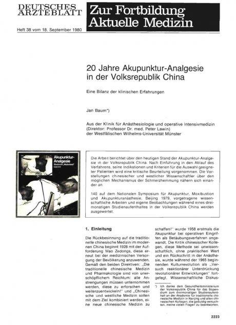 20 Jahre Akupunktur-Analgesie in der Volksrepublik...
