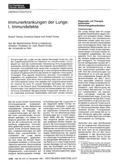 Immunerkrankungen der Lunge: I. Immundefekte