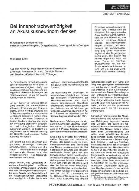 Bei Innenohrschwerhörigkeit an Akustikusneurinom...