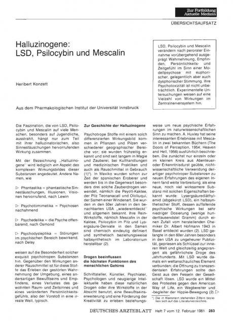 Halluzinogene: LSD, Psilocybin und Mescalin