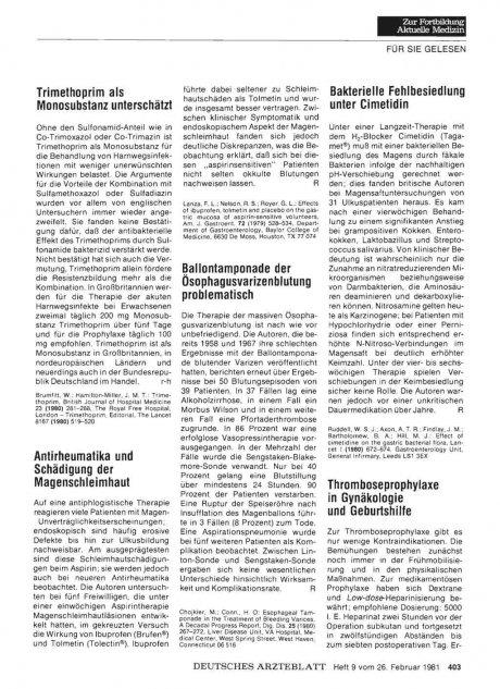 Bakterielle Fehlbesiedlung unter Cimetidin
