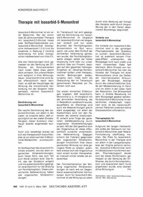 Therapie mit Isosorbid-5-Mononitrat