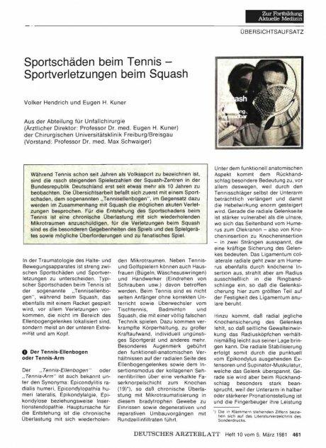 Sportschäden beim Tennis — Sportverletzungen beim...