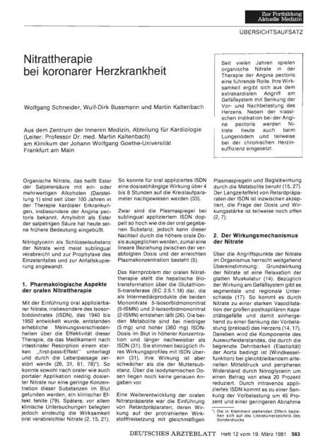 Nitrattherapie bei koronarer Herzkrankheit
