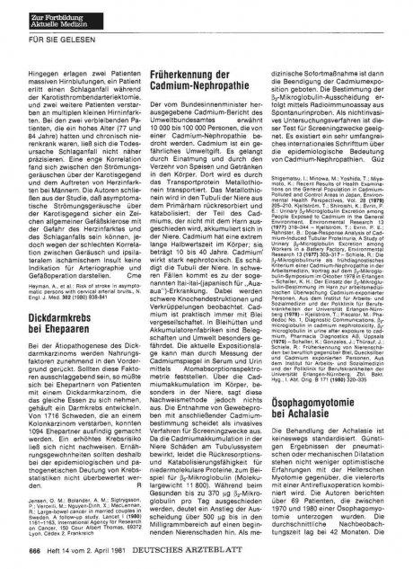 Früherkennung der Cadmium-Nephropathie