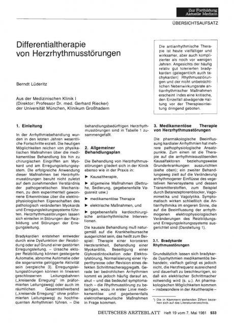 Differentialtherapie von Herzrhythmusstörungen