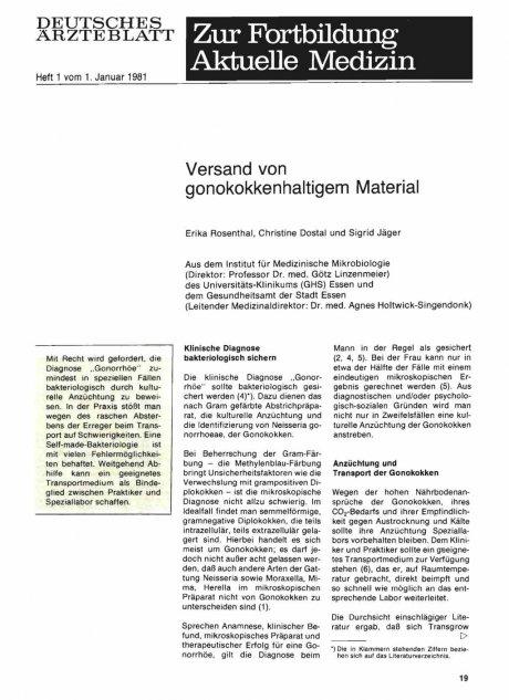Versand von gonokokkenhaltigem Material