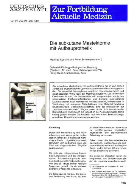 Die subkutane Mastektomie mit Aufbauprothetik