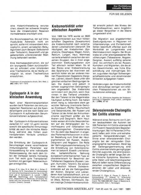 Cyclosporin A in der klinischen Anwendung
