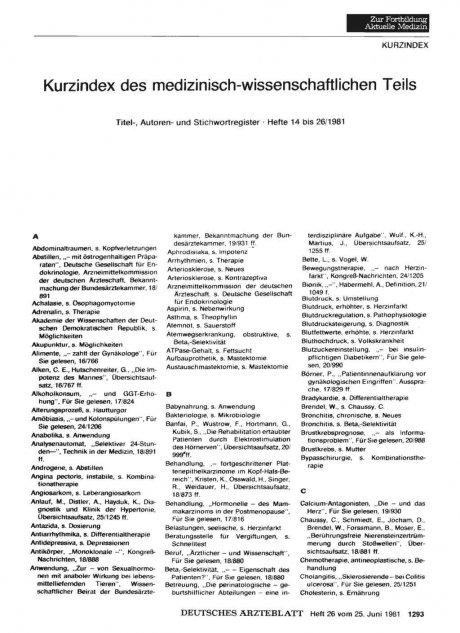 Kurzindex des medizinisch-wissenschaftlichen Teils