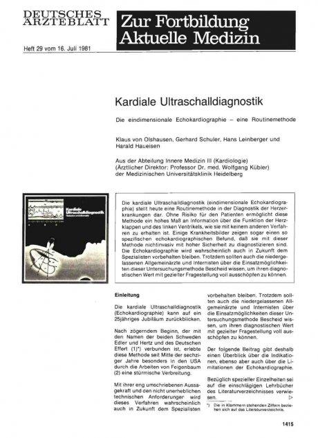 Kardiale Ultraschalldiagnostik