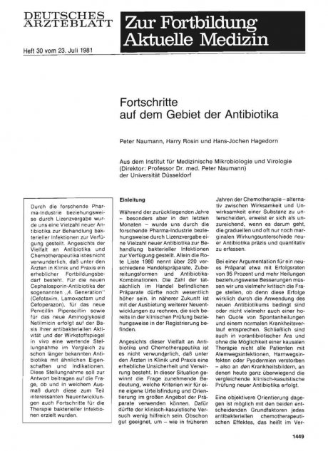 Fortschritte auf dem Gebiet der Antibiotika