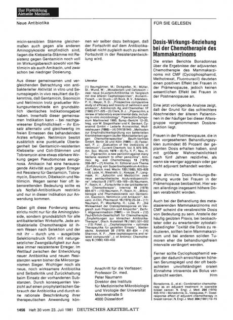 Dosis-Wirkungs-Beziehung bei der Chemotherapie des Mammakarzinoms