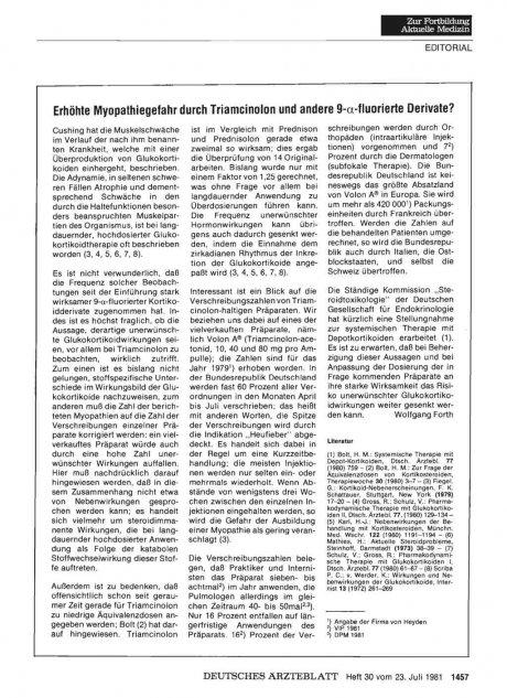 Erhöhte Myopathiegefahr durch Triamcinolon und andere 9-a-fluorierte Derivate?