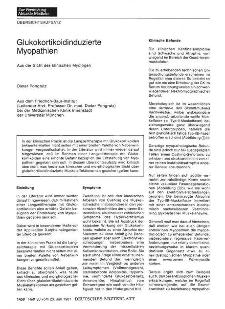 Glukokortikoidinduzierte Myopathien