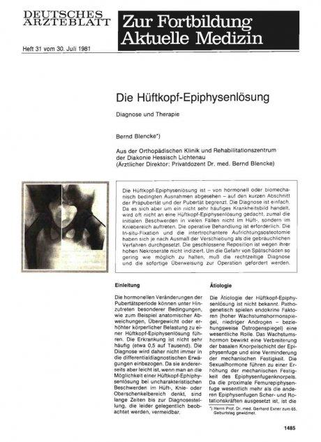 Die Hüftkopf-Epiphysenlösung
