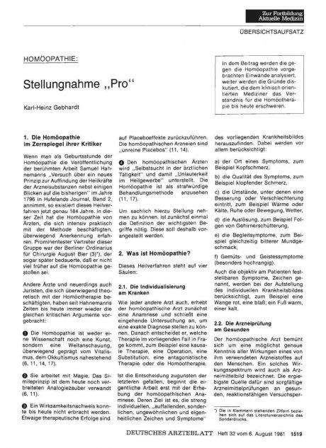"""HOMÖOPATHIE: Stellungnahme """"Pro"""""""