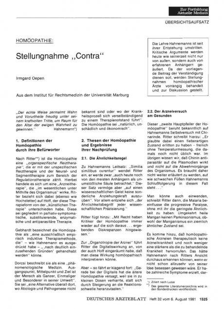 "HOMÖOPATHIE: Stellungnahme ""Contra"""