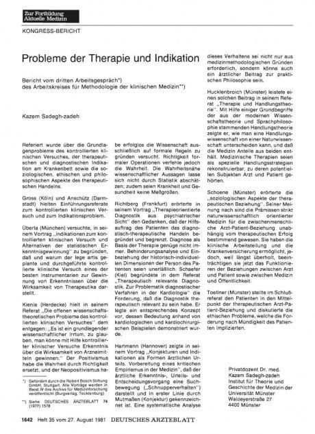Probleme der Therapie und Indikation