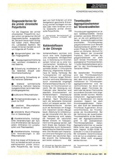 Thrombozyten-Aggregationshemmer bei...