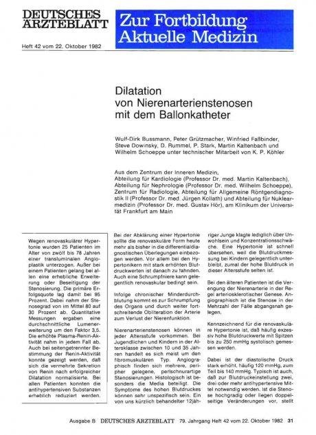 Dilatation von Nierenarterienstenosen mit dem...