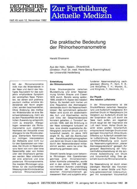 Die praktische Bedeutung der Rhinorheomanometrie