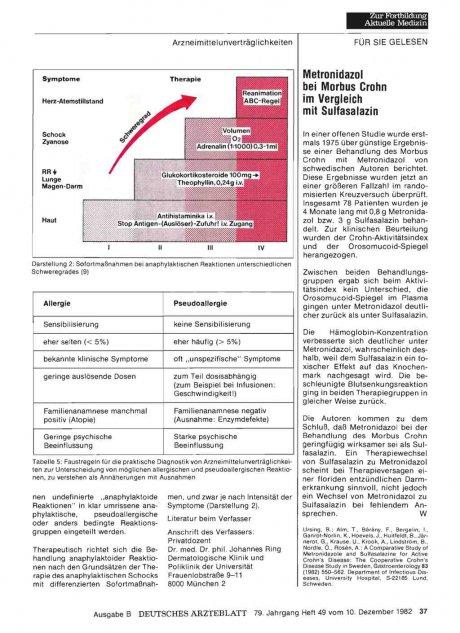 Metronidazol bei Morbus Crohn im Vergleich mit...
