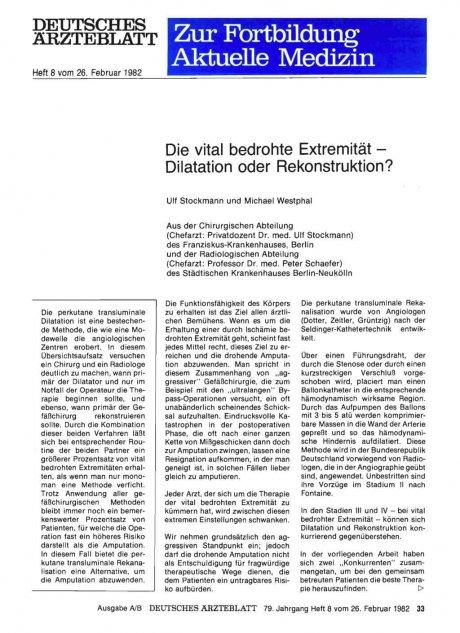 Die vital bedrohte Extremität — Dilatation oder...