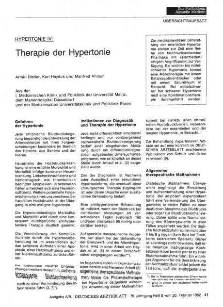 Therapie der Hypertonie