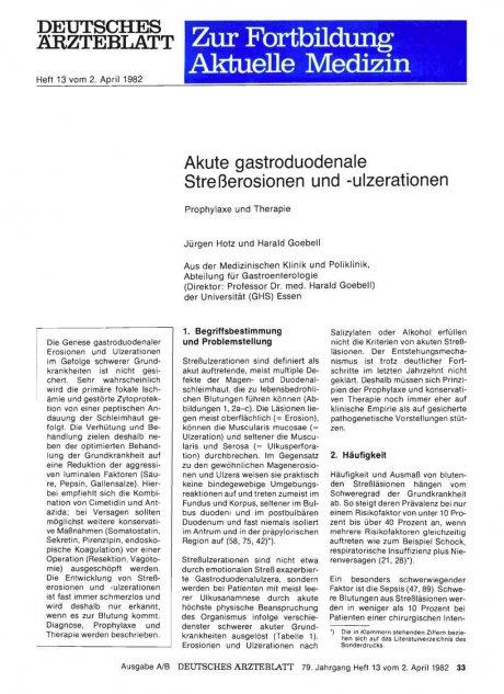 Akute gastroduodenale Streßerosionen und...