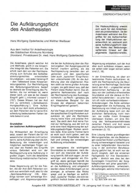 Die Aufklärungspflicht des Anästhesisten