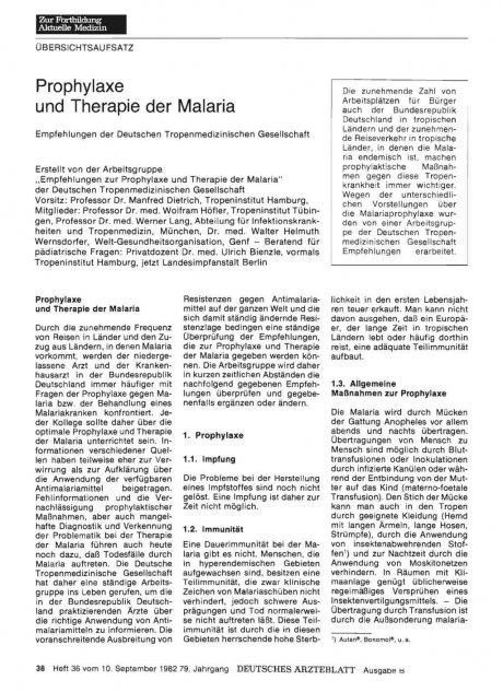 Prophylaxe und Therapie der Malaria