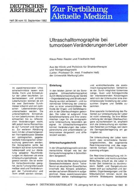 Ultraschalltomographie bei tumorösen Veränderungen...