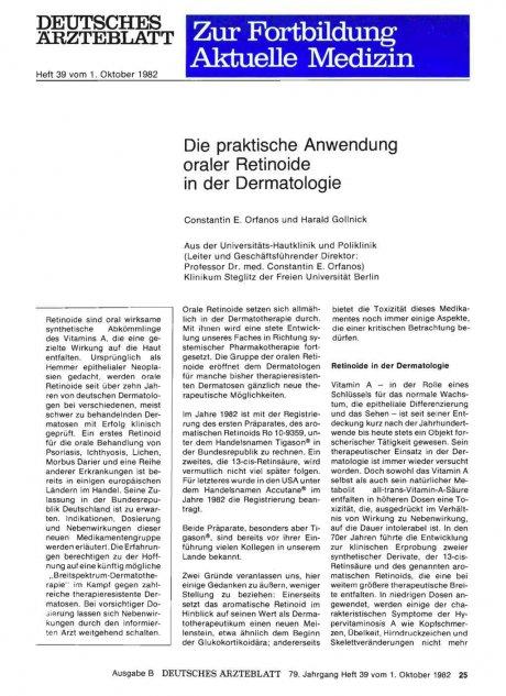 Die praktische Anwendung oraler Retinoide in der...