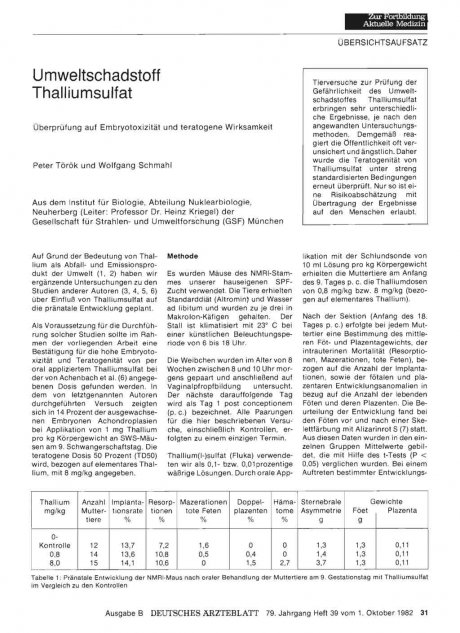 Umweltschadstoff Thalliumsulfat