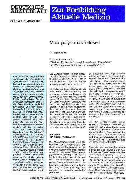 Mucopolysaccharidosen