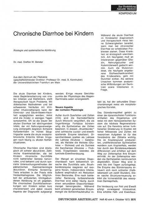 Chronische Diarrhoe bei Kindern