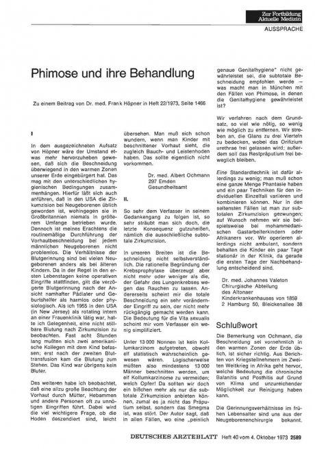 Phimose und ihre Behandlung : II.