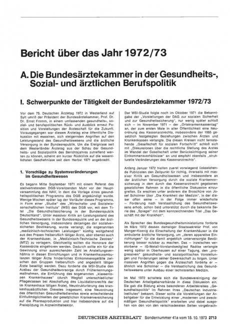 Bericht über das Jahr 1972/73