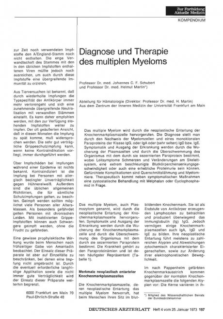 Diagnose und Therapie des multiplen Myeloms